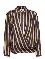 Shirt in jacquard stripes w. button - GREY PLUM STRIPE