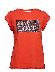 T-shirt w. love print - GRENADINE
