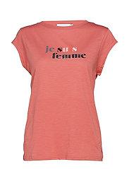 T-shirt w. je suis femme print - CANYON ROSE