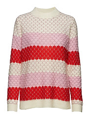 Sweater in mohair w. color mix and - BEGONIA MULTI STRIPE