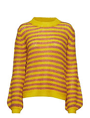 Sweater in mohair w. stripes and vo - CANYON ROSE STRIPES
