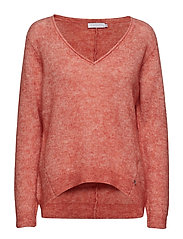 Sweater w. v-neck in crystal mohair - CANYON ROSE
