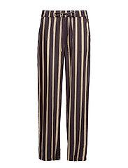 Pants in jacquard stripes w. elasti - GREY PLUM STRIPE