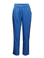 Pants in satin stretch - SKY BLUE