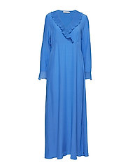Dress in viscose with v-neck and ru - SKY BLUE