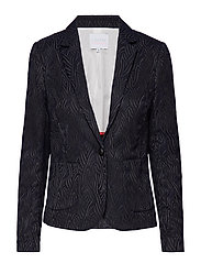 Jacket in wave jacquard stretch w. - BLACK