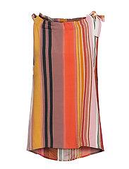 Top in stripe print w. tieband - STRIPE PRINT