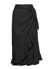 Skirt w. ruffles and tieband detail - BLACK
