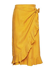 Skirt w. ruffles and tieband detail - GOLD SPICE