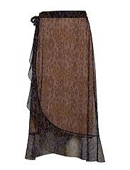 Skirt in tiger print w. wrap effect - PURPLE LEOPARD PRINT