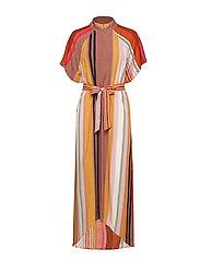 Dress in stripe print w. zipper at - STRIPE PRINT
