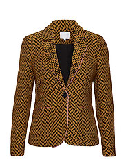Suit jacket w. pipings in jacquard - GOLD SPICE