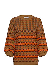 Knit in multi color w. volume sleev - NOMADE