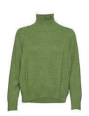 Knit w. T-neck in seawool - FORREST GREEN
