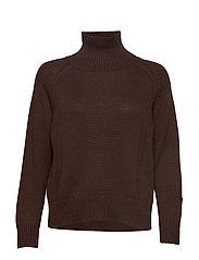 Knit w. T-neck in seawool - NIGHT SHADE