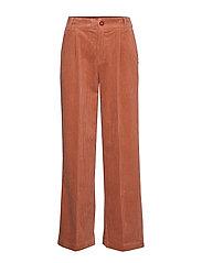 Pants in corduroy w. elastic waistb - ORANGE MIST