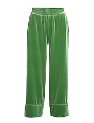 Pants in velour w. piping - FORREST GREEN