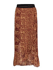 Skirt w. pyton print and frill - NOMADE PYTON