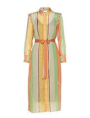 Dress w. ruffles stroke print w. lu - STROKE PRINT