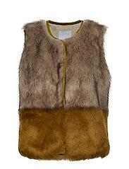 Vest in faux fur - CRESS GREEN