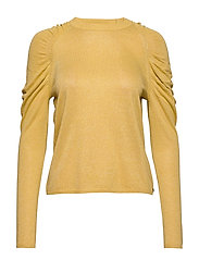 Knit in lurex w. volume at shoulder - LIGHT YELLOW