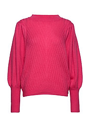 Knit w. volume at sleeves - CLEAR PINK