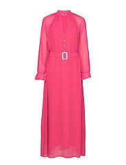 Dress w. buckle closure at waist - CLEAR PINK