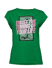 T-shirt w. trust the timing print - EMERALD GREEN