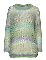 Sweater in o-neck w. short sleeves - MULTI PASTEL