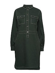 Dress w. long sleeves - DARK GREEN