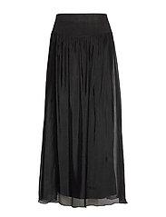 Long skirt w. jersey waistband - BLACK