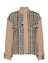Jacket in mix canvas and boucle - BEIGE