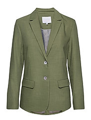 Jacket w. button detail - FOREST GREEN
