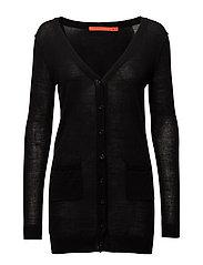 Long knit cardigan merino (Basic) - BLACK