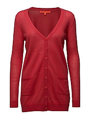 Long knit cardigan merino (Basic) - CRANBERRY