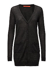 Long knit cardigan merino (Basic) - DARK GREY MELANGE