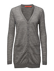 Long knit cardigan merino (Basic) - LIGHT GREY MELANGE
