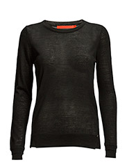 Round neck knit top merino (Basic) - BLACK