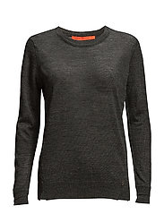 Round neck knit top merino (Basic) - DARK GREY MELANGE
