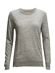 Round neck knit top merino (Basic) - LIGHT GREY MELANGE