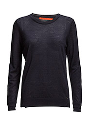 Round neck knit top merino (Basic) - NAVY