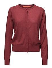 Round neck knit cardigan merino - WINE RED