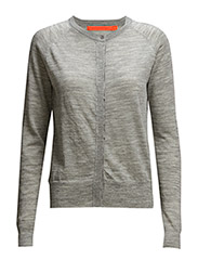 Round neck knit cardigan merino (Ba - LIGHT GREY MELANGE