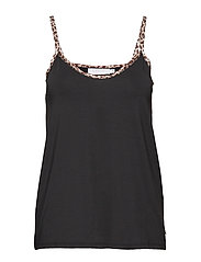 Strap top w. leopard tape - BLACK