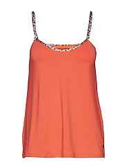 Strap top w. leopard tape - CORAL ROSE