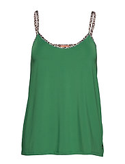 Strap top w. leopard tape - FORREST GREEN