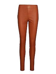 Leather stretch leggings - Mynte - RUST