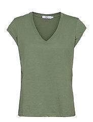 CC Heart basic v-neck t-shirt  - MINERAL GREEN