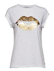T-shirt w. Lips - WHITE (GOLD)