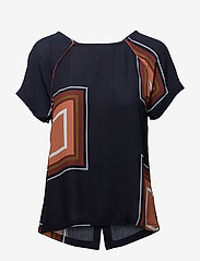 Coster Copenhagen - Square dot print top w. button back - t-shirts - square dot print darkblue - 0